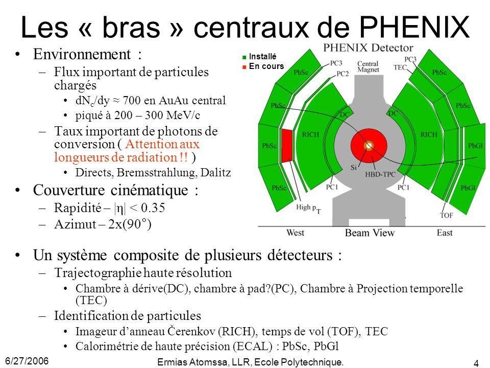 6/27/2006 Ermias Atomssa, LLR, Ecole Polytechnique. 4 Les « bras » centraux de PHENIX Environnement : –Flux important de particules chargés dN c /dy ≈