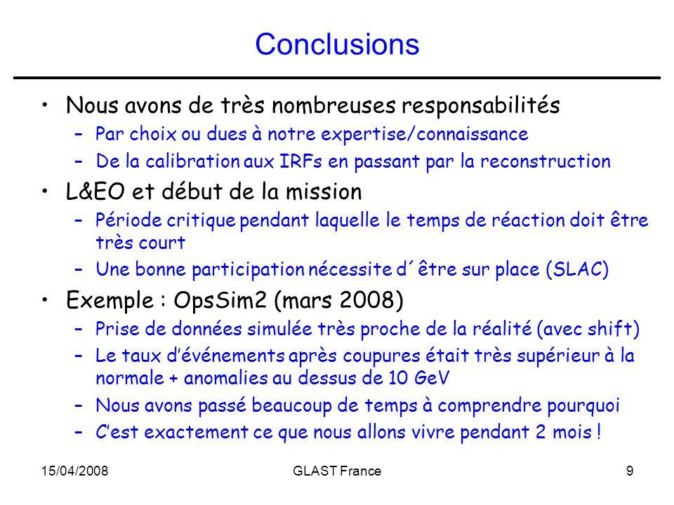 15/04/2008GLAST France9 Conclusions Nous avons de très nombreuses responsabilités –Par choix ou dues à notre expertise/connaissance –De la calibration aux IRFs en passant par la reconstruction L&EO et début de la mission –Période critique pendant laquelle le temps de réaction doit être très court –Une bonne participation nécessite d´être sur place (SLAC) Exemple : OpsSim2 (mars 2008) –Prise de données simulée très proche de la réalité (avec shift) –Le taux d'événements après coupures était très supérieur à la normale + anomalies au dessus de 10 GeV –Nous avons passé beaucoup de temps à comprendre pourquoi –C'est exactement ce que nous allons vivre pendant 2 mois !