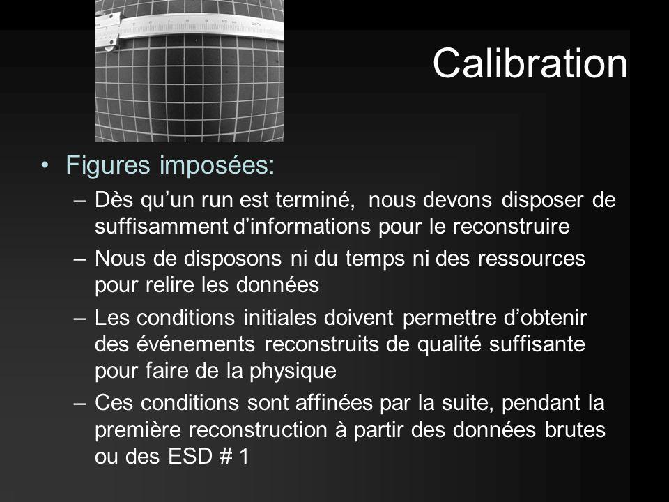 Calibration Figures imposées: –Dès qu'un run est terminé, nous devons disposer de suffisamment d'informations pour le reconstruire –Nous de disposons