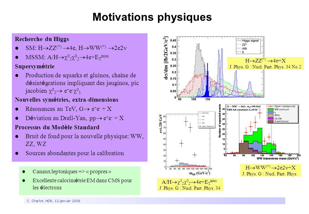 3 C. Charlot, HDR, 12 janvier 2006 Motivations physiques Recherche du Higgs SM: H  ZZ (*)  4e, H  WW (*)  2e2 MSSM: A/H  0 2  0 2  4e+E T miss