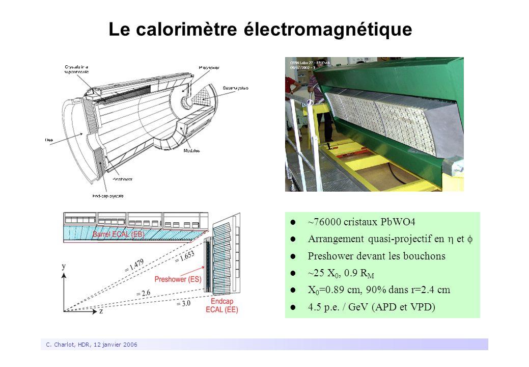8 C. Charlot, HDR, 12 janvier 2006 Le calorimètre électromagnétique ~76000 cristaux PbWO4 Arrangement quasi-projectif en  et  Preshower devant les b