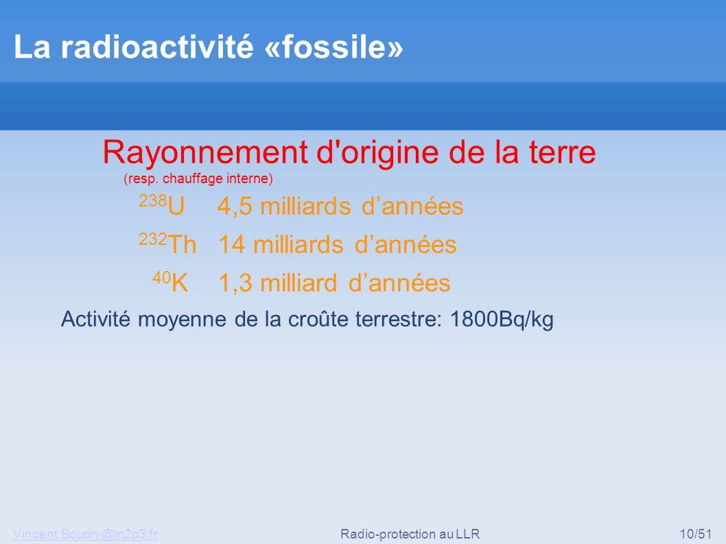 Vincent.Boudry@in2p3.frRadio-protection au LLR10/51 La radioactivité «fossile» Rayonnement d'origine de la terre (resp. chauffage interne) 238 U 4,5 m