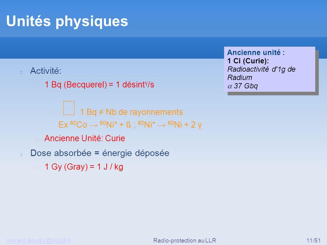 Vincent.Boudry@in2p3.frRadio-protection au LLR11/51 Unités physiques Activité: ▶ 1 Bq (Becquerel) = 1 désint γ /s ◆ 1 Bq ≠ Nb de rayonnements Ex 60 Co → 60 Ni* + ß ; 60 Ni* → 60 Ni + 2 γ ▶ Ancienne Unité: Curie Dose absorbée = énergie déposée ▶ 1 Gy (Gray) = 1 J / kg Ancienne unité : 1 Ci (Curie): Radioactivité d 1g de Radium  37 Gbq Ancienne unité : 1 Ci (Curie): Radioactivité d 1g de Radium  37 Gbq