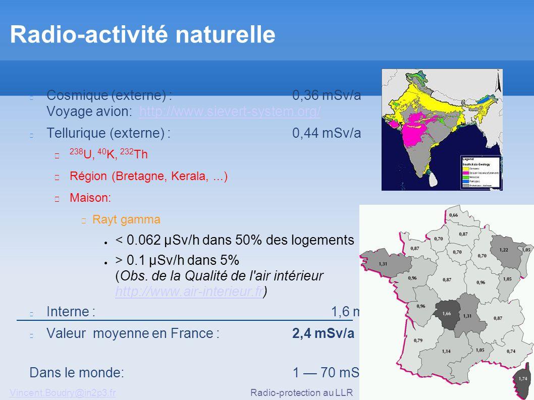Vincent.Boudry@in2p3.frRadio-protection au LLR17/51 Radio-activité naturelle Cosmique (externe) : 0,36 mSv/a Voyage avion: http://www.sievert-system.org/http://www.sievert-system.org/ Tellurique (externe) : 0,44 mSv/a ▶ 238 U, 40 K, 232 Th ▶ Région (Bretagne, Kerala,...) ▶ Maison: ◆ Rayt gamma ● < 0.062 µSv/h dans 50% des logements ● > 0.1 µSv/h dans 5% (Obs.
