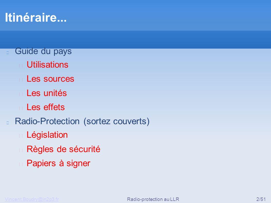 Vincent.Boudry@in2p3.frRadio-protection au LLR2/51 Itinéraire... Guide du pays ▶ Utilisations ▶ Les sources ▶ Les unités ▶ Les effets Radio-Protection