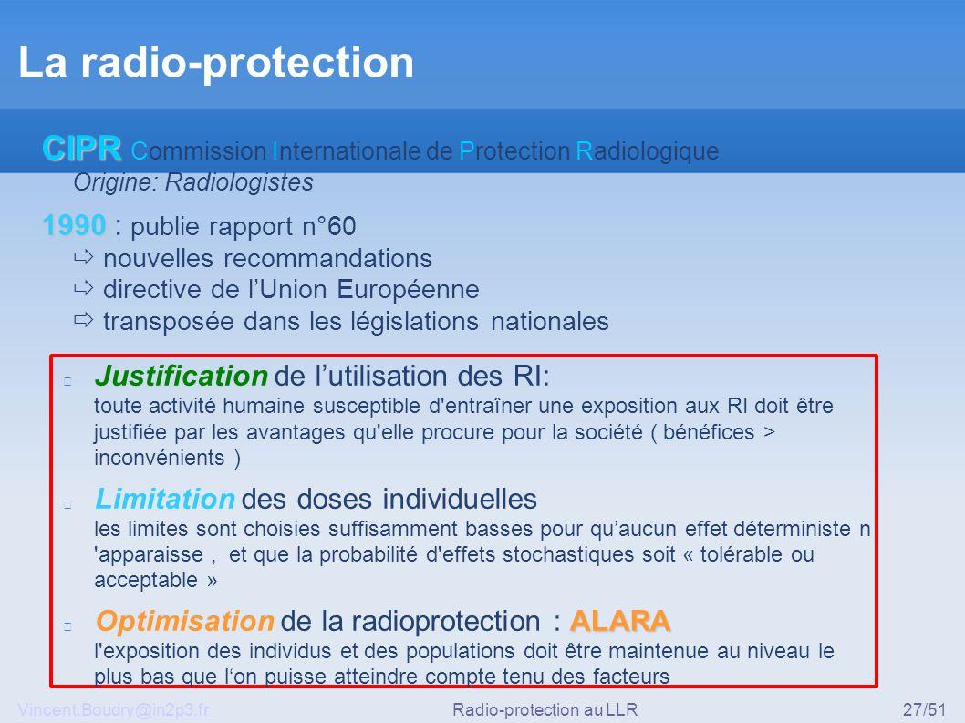 Vincent.Boudry@in2p3.frRadio-protection au LLR27/51 La radio-protection Justification de l'utilisation des RI: toute activité humaine susceptible d'en