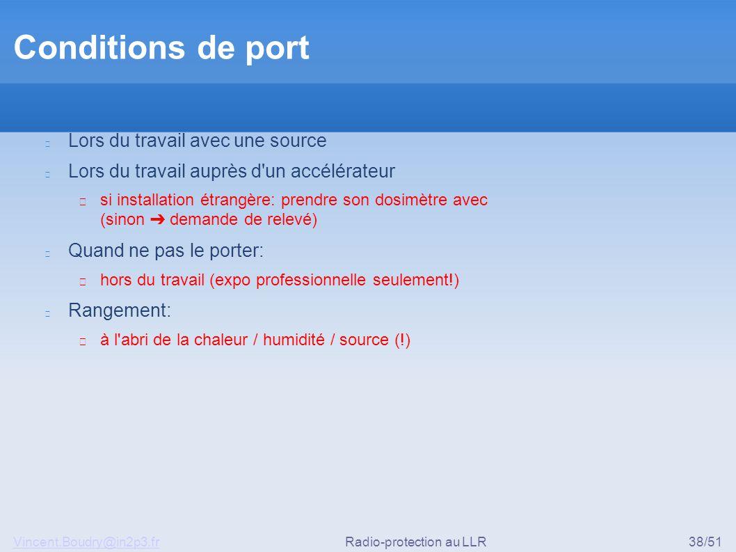 Vincent.Boudry@in2p3.frRadio-protection au LLR38/51 Conditions de port Lors du travail avec une source Lors du travail auprès d'un accélérateur ▶ si i