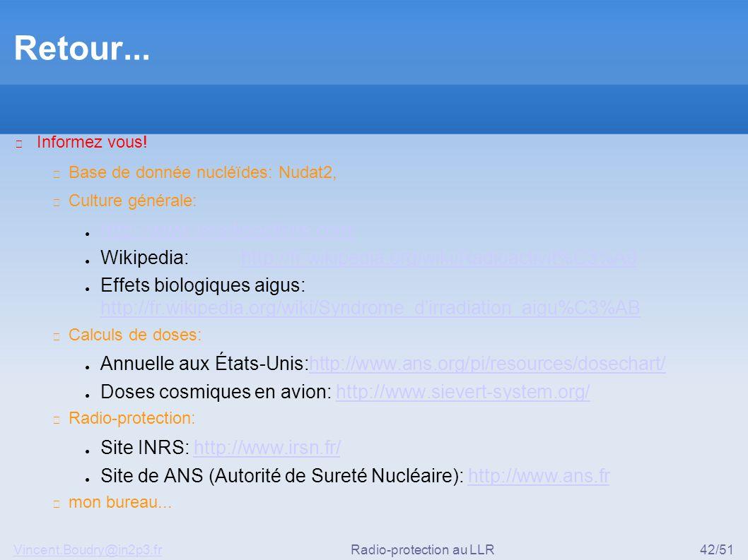 Vincent.Boudry@in2p3.frRadio-protection au LLR42/51 Retour... ▶ Informez vous! ◆ Base de donnée nucléïdes: Nudat2, ◆ Culture générale: ● http://www.la