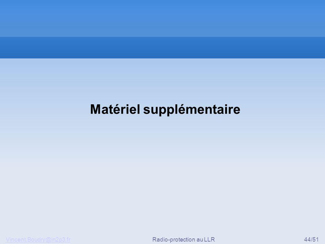 Vincent.Boudry@in2p3.frRadio-protection au LLR44/51 Matériel supplémentaire