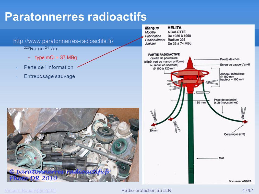 Vincent.Boudry@in2p3.frRadio-protection au LLR47/51 Paratonnerres radioactifs 226 Ra ou 241 Am ▶ type mCi = 37 MBq Perte de l'information Entreposage