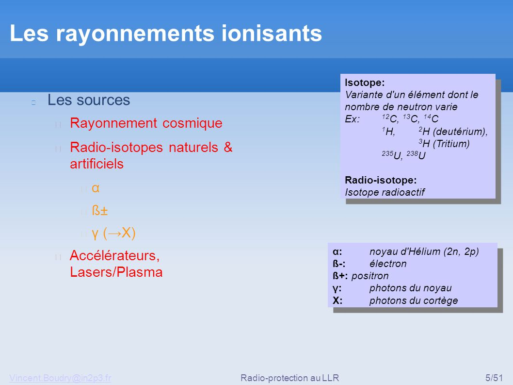 Vincent.Boudry@in2p3.frRadio-protection au LLR5/51 Les rayonnements ionisants Les sources ▶ Rayonnement cosmique ▶ Radio-isotopes naturels & artificie