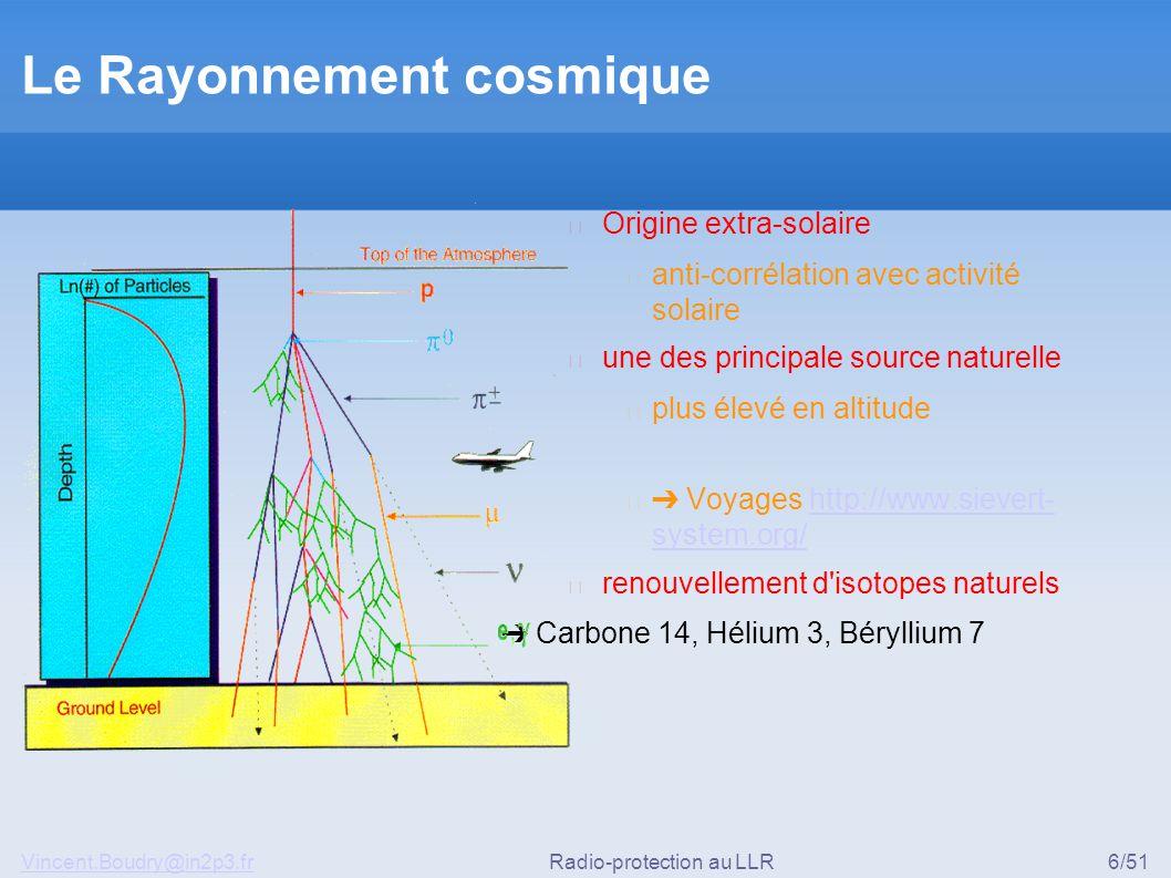 Vincent.Boudry@in2p3.frRadio-protection au LLR6/51 Le Rayonnement cosmique ▶ Origine extra-solaire ◆ anti-corrélation avec activité solaire ▶ une des principale source naturelle ◆ plus élevé en altitude ◆ ➔ Voyages http://www.sievert- system.org/http://www.sievert- system.org/ ▶ renouvellement d isotopes naturels ➔ Carbone 14, Hélium 3, Béryllium 7