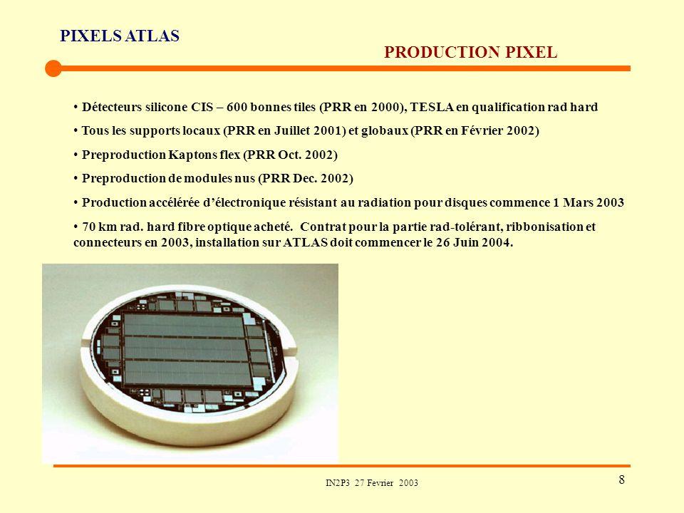 PIXELS ATLAS IN2P3 27 Fevrier 2003 8 PRODUCTION PIXEL Détecteurs silicone CIS – 600 bonnes tiles (PRR en 2000), TESLA en qualification rad hard Tous l