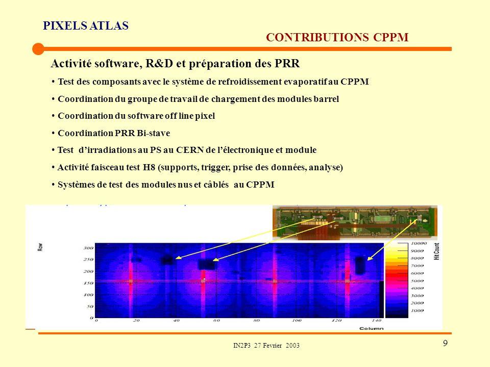 PIXELS ATLAS IN2P3 27 Fevrier 2003 9 CONTRIBUTIONS CPPM Activité software, R&D et préparation des PRR Test des composants avec le système de refroidis