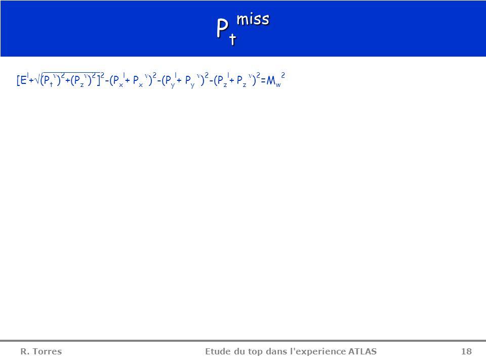 R. Torres Etude du top dans l'experience ATLAS 17 Conclusion  modification de la fonction de structure du proton  rajout du temps de vie du lepton t