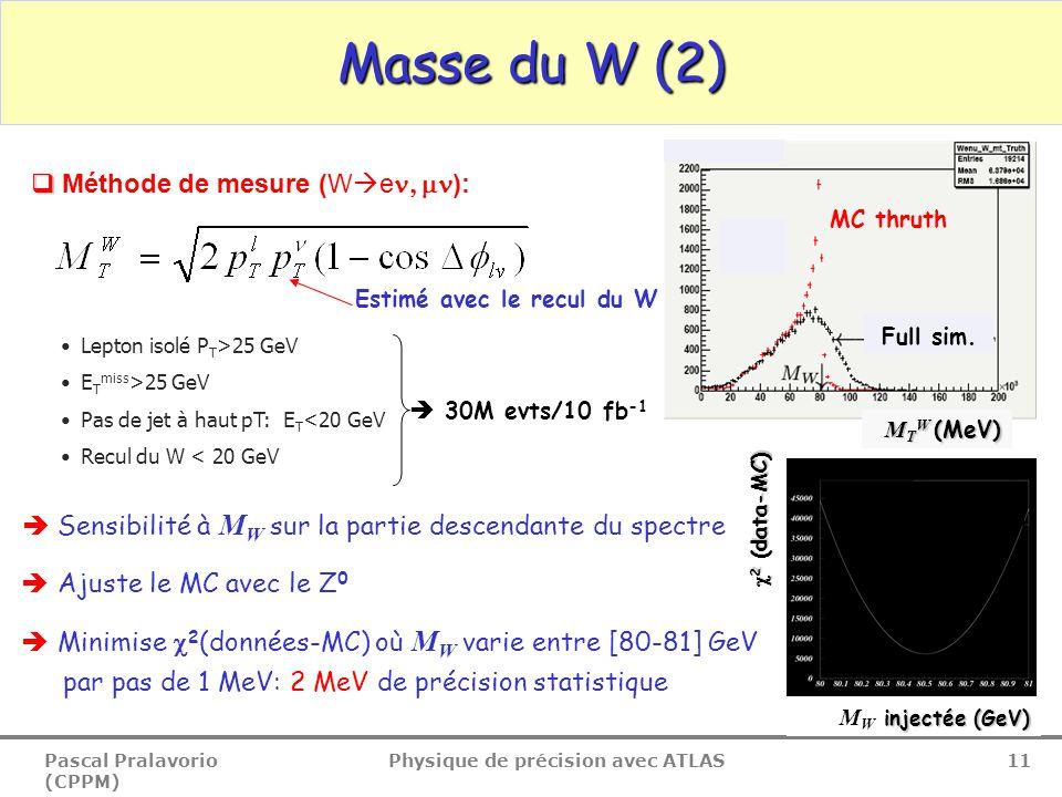 Pascal Pralavorio (CPPM) Physique de précision avec ATLAS 11 Masse du W (2)   Méthode de mesure (W  e  ): MC thruth Full sim. Estimé avec le rec