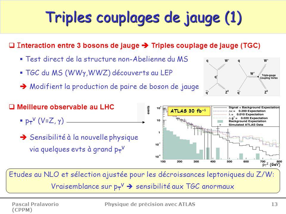 Pascal Pralavorio (CPPM) Physique de précision avec ATLAS 13  I nteraction entre 3 bosons de jauge  Triples couplage de jauge (TGC)  Test direct de la structure non-Abelienne du MS  TGC du MS (WW ,WWZ) découverts au LEP  Modifient la production de paire de boson de jauge  Meilleure observable au LHC  p T V (V=Z,  )  Sensibilité à la nouvelle physique via quelques evts à grand p T V Triples couplages de jauge (1) Etudes au NLO et sélection ajustée pour les décroissances leptoniques du Z/W: Vraisemblance sur p T V  sensibilité aux TGC anormaux ATLAS 30 fb -1 p T Z (GeV)