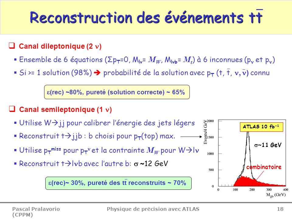 Pascal Pralavorio (CPPM) Physique de précision avec ATLAS 18  (rec) ~80%, pureté (solution correcte) ~ 65% Reconstruction des événements tt  Canal semileptonique (1 )  Utilise W  jj pour calibrer l'énergie des jets légers  Reconstruit t  jjb : b choisi pour p T (top) max.