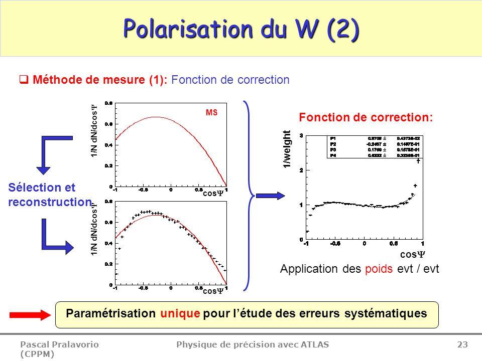 Pascal Pralavorio (CPPM) Physique de précision avec ATLAS 23 Polarisation du W (2) Application des poids evt / evt Sélection et reconstruction Fonction de correction: MS cos  1/weight cos  1/N dN/dcos  Paramétrisation unique pour l'étude des erreurs systématiques  Méthode de mesure (1): Fonction de correction