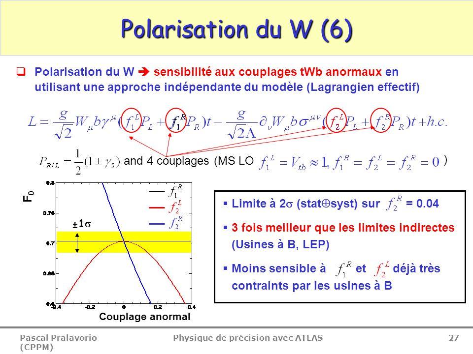 Pascal Pralavorio (CPPM) Physique de précision avec ATLAS 27 Polarisation du W (6)  Polarisation du W  sensibilité aux couplages tWb anormaux en utilisant une approche indépendante du modèle (Lagrangien effectif) and 4 couplages (MS LO ) ±1   Limite à 2  (stat  syst) sur = 0.04  3 fois meilleur que les limites indirectes (Usines à B, LEP)  Moins sensible à et déjà très contraints par les usines à B Couplage anormal F0F0