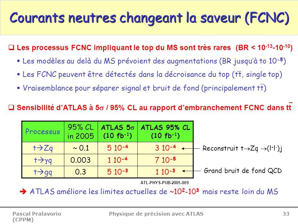 Pascal Pralavorio (CPPM) Physique de précision avec ATLAS 33 Courants neutres changeant la saveur (FCNC)  Les processus FCNC impliquant le top du MS sont très rares (BR < 10 -13 -10 -10 )  Les modèles au delà du MS prévoient des augmentations (BR jusqu'à to 10 -5 )  Les FCNC peuvent être détectés dans la décroisance du top (tt, single top)  Vraisemblance pour séparer signal et bruit de fond (principalement tt)  Sensibilité d'ATLAS à 5  / 95% CL au rapport d'embranchement FCNC dans tt Processus 95% CL in 2005 ATLAS 5  (10 fb -1 ) ATLAS 95% CL (10 fb -1 ) t  Zq~ 0.15 10 -4 3 10 -4 tqtq0.0031 10 -4 7 10 -5 t  gq0.35 10 -3 1 10 -3  ATLAS améliore les limites actuelles de ~10 2 -10 3 mais reste loin du MS Reconstruit t  Zq  (l + l - )j Grand bruit de fond QCD ATL-PHYS-PUB-2005-009