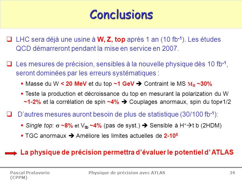 Pascal Pralavorio (CPPM) Physique de précision avec ATLAS 34 Conclusions  LHC sera déjà une usine à W, Z, top après 1 an (10 fb -1 ).