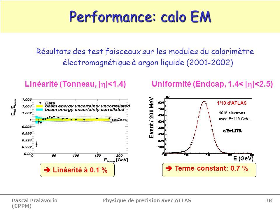 Pascal Pralavorio (CPPM) Physique de précision avec ATLAS 38 Performance: calo EM Linéarité (Tonneau, |  |<1.4)Uniformité (Endcap, 1.4< |  |<2.5) Résultats des test faisceaux sur les modules du calorimètre électromagnétique à argon liquide (2001-2002)  Terme constant: 0.7 % E (GeV) 1/10 d'ATLAS 16 M electrons avec E=119 GeV Event / 200 MeV  Linéarité à 0.1 %