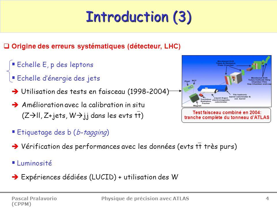 Pascal Pralavorio (CPPM) Physique de précision avec ATLAS 4  Origine des erreurs systématiques (détecteur, LHC)  Echelle E, p des leptons  Echelle
