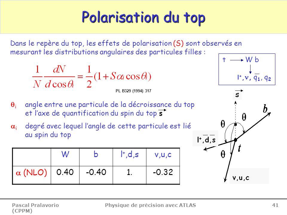 Pascal Pralavorio (CPPM) Physique de précision avec ATLAS 41 Polarisation du top Wbl +,d,sv,u,c  (NLO)0.40-0.401.-0.32 Dans le repère du top, les effets de polarisation (S) sont observés en mesurant les distributions angulaires des particules filles :  i angle entre une particule de la décroissance du top et l'axe de quantification du spin du top s  i degré avec lequel l'angle de cette particule est lié au spin du top t W b l +,, q 1, q 2 s PL B329 (1994) 317