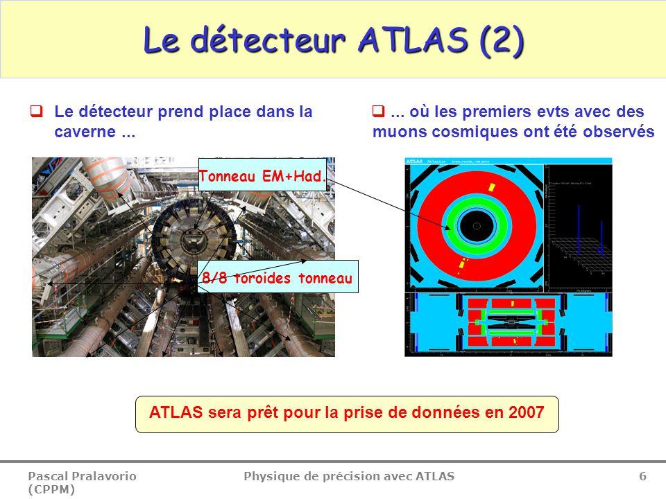 Pascal Pralavorio (CPPM) Physique de précision avec ATLAS 37 Performance: b-tagging Light jets b-jets 2D+1D 2.10 33 cm -1 s -2 Détecteur réaliste 2D Poids des jets Algorithme de b-tagging : un poids est donné à chaque jet en combinant les paramètres d'impact signés (1D+2D) et la reconstruction des vertex secondaires (masse, nombre de vertex, …)  b =60% R=65,90,150 3D+SVX