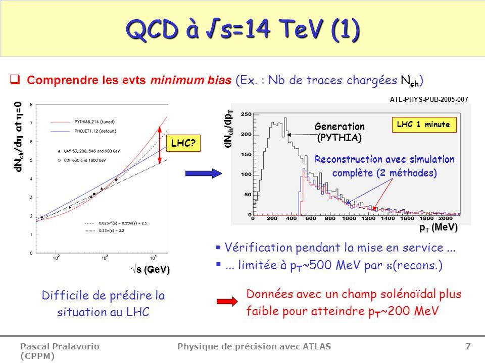 Pascal Pralavorio (CPPM) Physique de précision avec ATLAS 8 Génération Reconstruction QCD à √s=14 TeV (2)  Comprendre les evts sous jacents (région Transverse )  ljet Traces Transverse : pT>1 GeV, |  |< 2.5 Direction du jet le plus energétique (jE) Transverse E T jE (GeV) Utilisation des traces reconstruites pour comprendre les evts sous-jacents  Reconstruction/Génération ~ 1 Comme précédemment, difficile de prédire la situation au LHC ATL-PHYS-PUB-2005-015