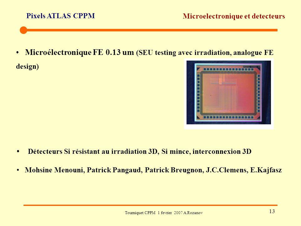 Pixels ATLAS CPPM Tourniquet CPPM 1 fevrier 2007 A.Rozanov 13 Microelectronique et detecteurs Microélectronique FE 0.13 um (SEU testing avec irradiati