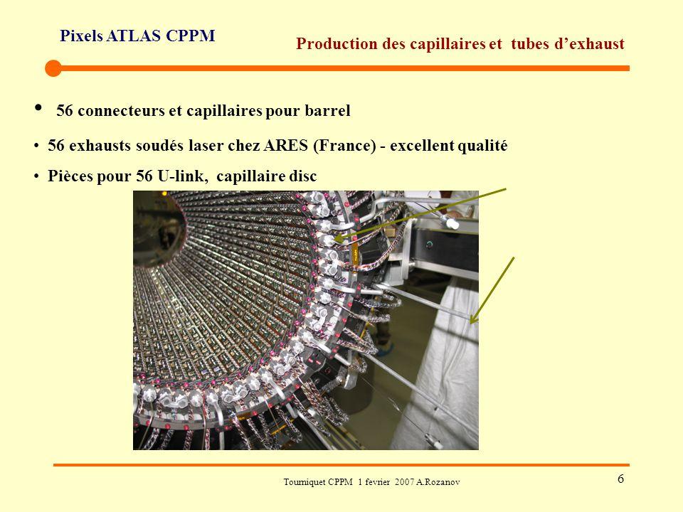 Pixels ATLAS CPPM Tourniquet CPPM 1 fevrier 2007 A.Rozanov 6 Production des capillaires et tubes d'exhaust 56 connecteurs et capillaires pour barrel 5