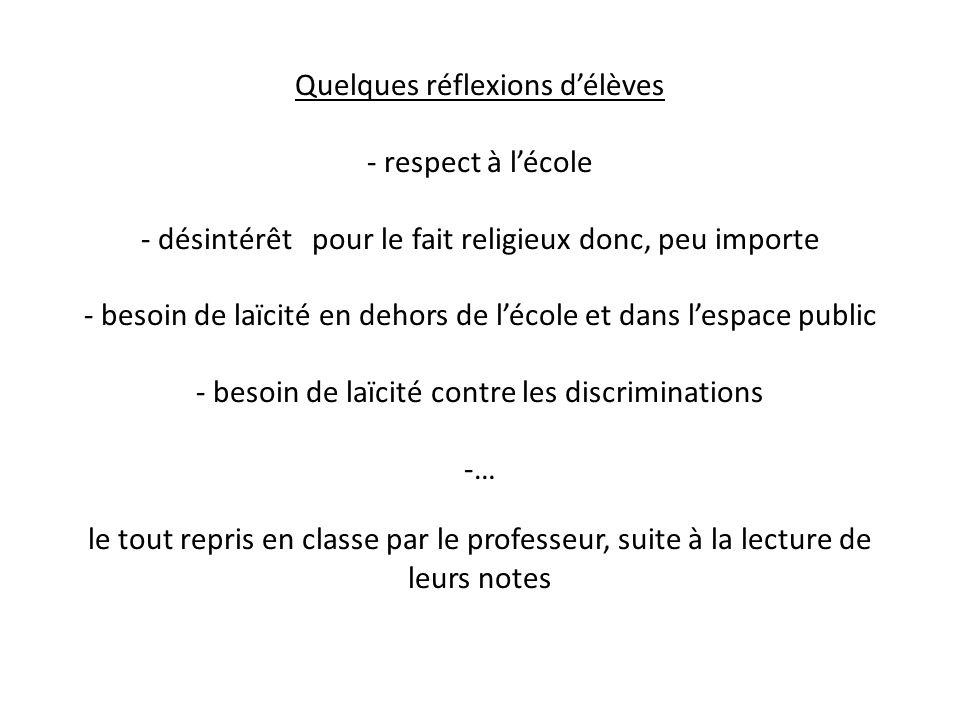 Quelques réflexions d'élèves - respect à l'école - désintérêt pour le fait religieux donc, peu importe - besoin de laïcité en dehors de l'école et dan