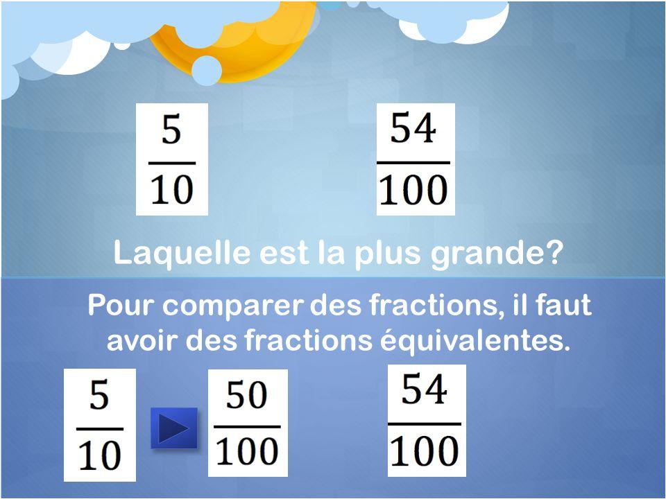 Pour comparer des fractions, il faut avoir des fractions équivalentes. Laquelle est la plus grande?