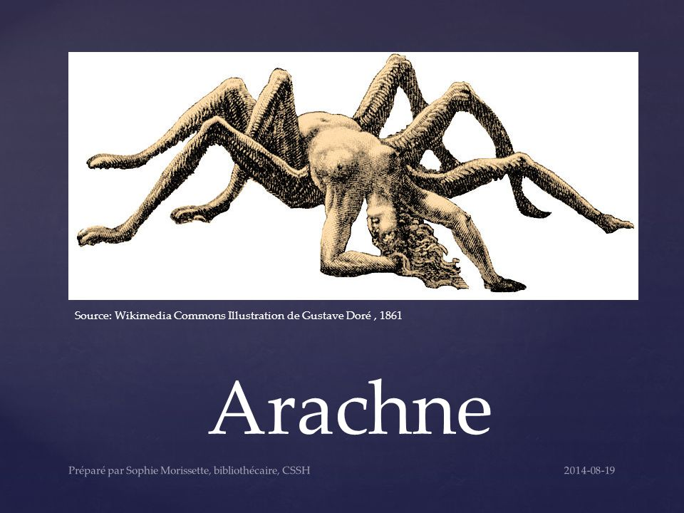Arachne Source: Wikimedia Commons Illustration de Gustave Doré, 1861 2014-08-19Préparé par Sophie Morissette, bibliothécaire, CSSH