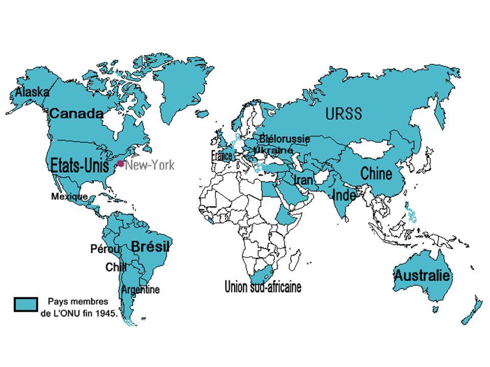 S on siège se trouve à New-York. En 1945 L'ONU contient 51 pays membres. Elle adopte à Paris en 1948 la « Déclaration universelle des droits de l'homm