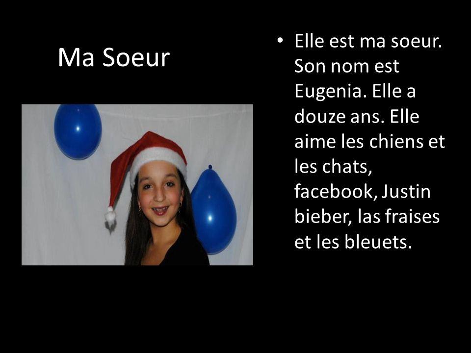 Ma Soeur Elle est ma soeur. Son nom est Eugenia. Elle a douze ans. Elle aime les chiens et les chats, facebook, Justin bieber, las fraises et les bleu