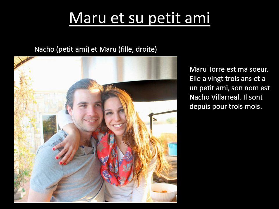 Maru et su petit ami Nacho (petit ami) et Maru (fille, droite) Maru Torre est ma soeur. Elle a vingt trois ans et a un petit ami, son nom est Nacho Vi