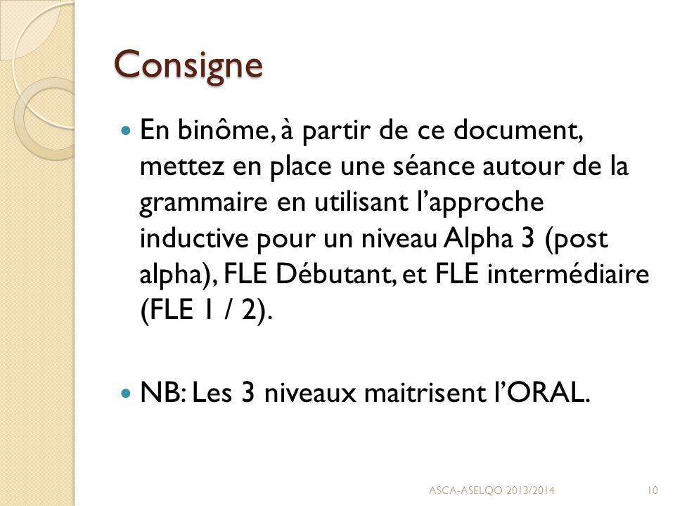 Consigne En binôme, à partir de ce document, mettez en place une séance autour de la grammaire en utilisant l'approche inductive pour un niveau Alpha 3 (post alpha), FLE Débutant, et FLE intermédiaire (FLE 1 / 2).