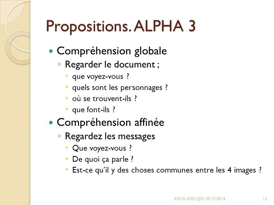 Propositions. ALPHA 3 Compréhension globale ◦ Regarder le document ;  que voyez-vous .