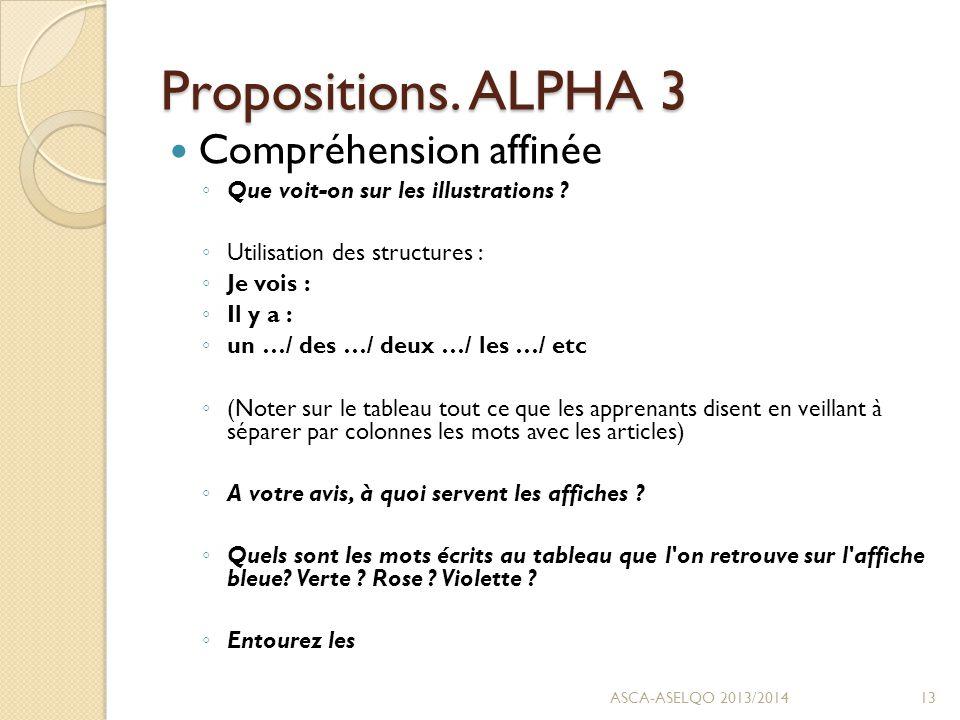 Propositions. ALPHA 3 Compréhension affinée ◦ Que voit-on sur les illustrations .