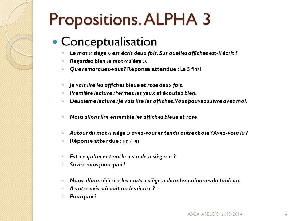 Propositions. ALPHA 3 Conceptualisation ◦ Le mot « siège » est écrit deux fois.