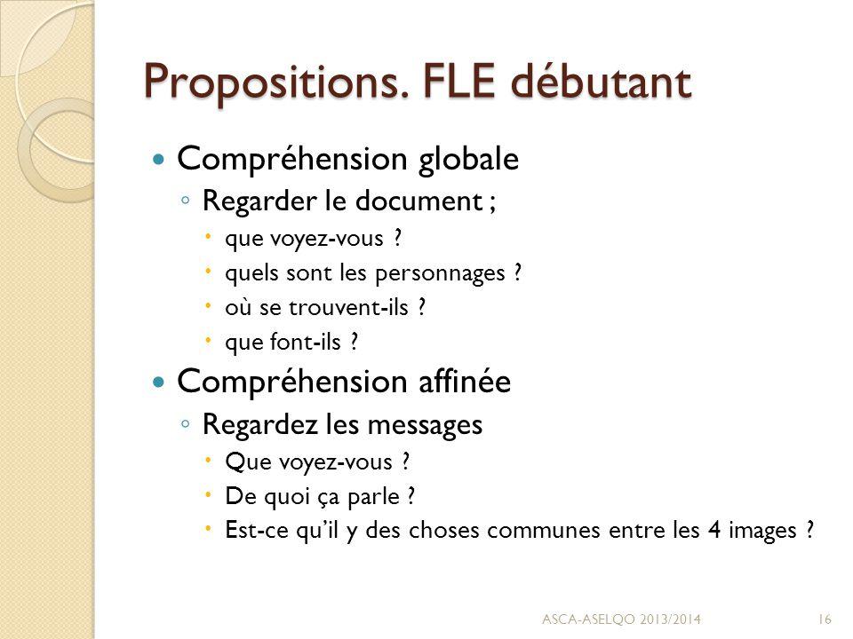 Propositions. FLE débutant Compréhension globale ◦ Regarder le document ;  que voyez-vous .