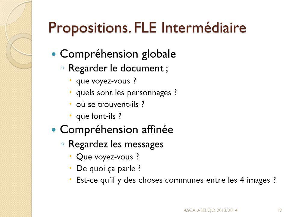 Propositions. FLE Intermédiaire Compréhension globale ◦ Regarder le document ;  que voyez-vous .