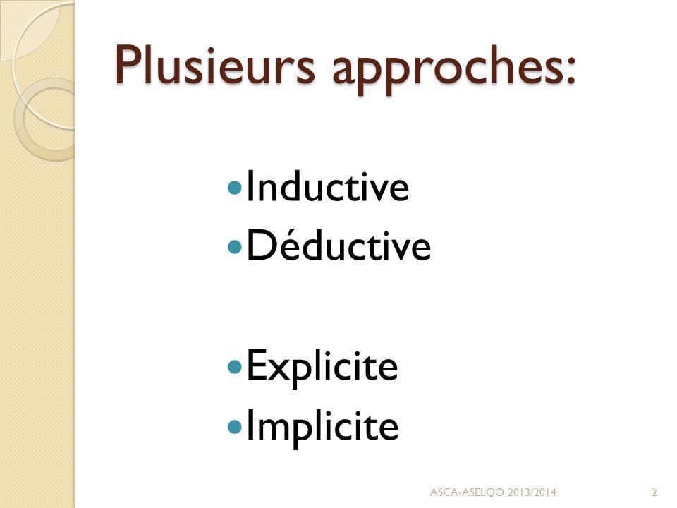 Plusieurs approches: Inductive Déductive Explicite Implicite ASCA-ASELQO 2013/20142