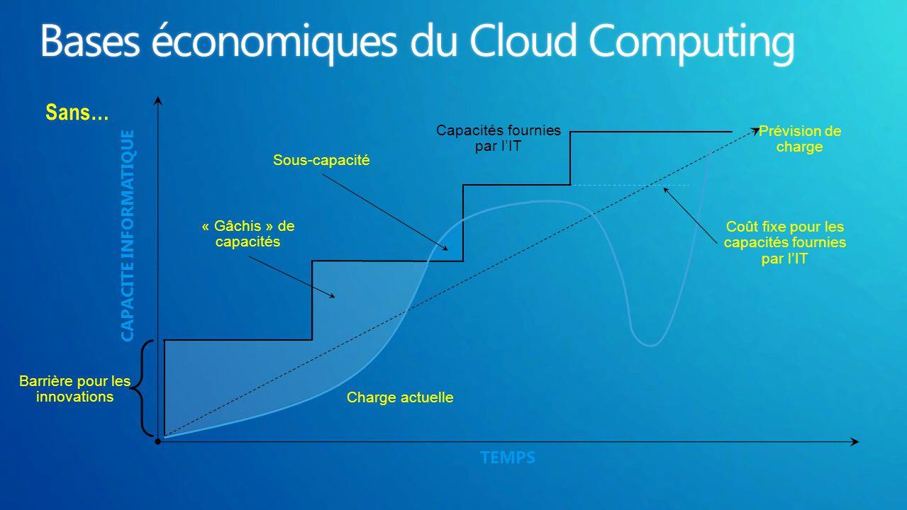 TEMPS CAPACITE INFORMATIQUE Charge actuelle Capacités fournies par l'IT « Gâchis » de capacités Sous-capacité Coût fixe pour les capacités fournies pa