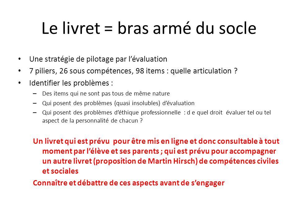 Le livret = bras armé du socle Une stratégie de pilotage par l'évaluation 7 piliers, 26 sous compétences, 98 items : quelle articulation ? Identifier