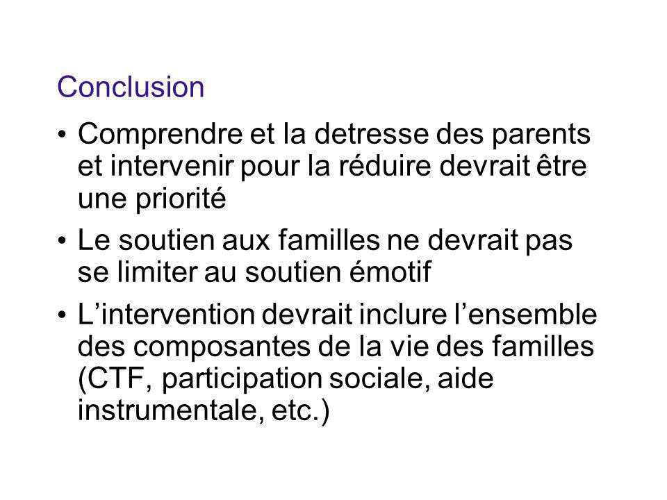 Conclusion Comprendre et la detresse des parents et intervenir pour la réduire devrait être une priorité Le soutien aux familles ne devrait pas se limiter au soutien émotif L'intervention devrait inclure l'ensemble des composantes de la vie des familles (CTF, participation sociale, aide instrumentale, etc.)
