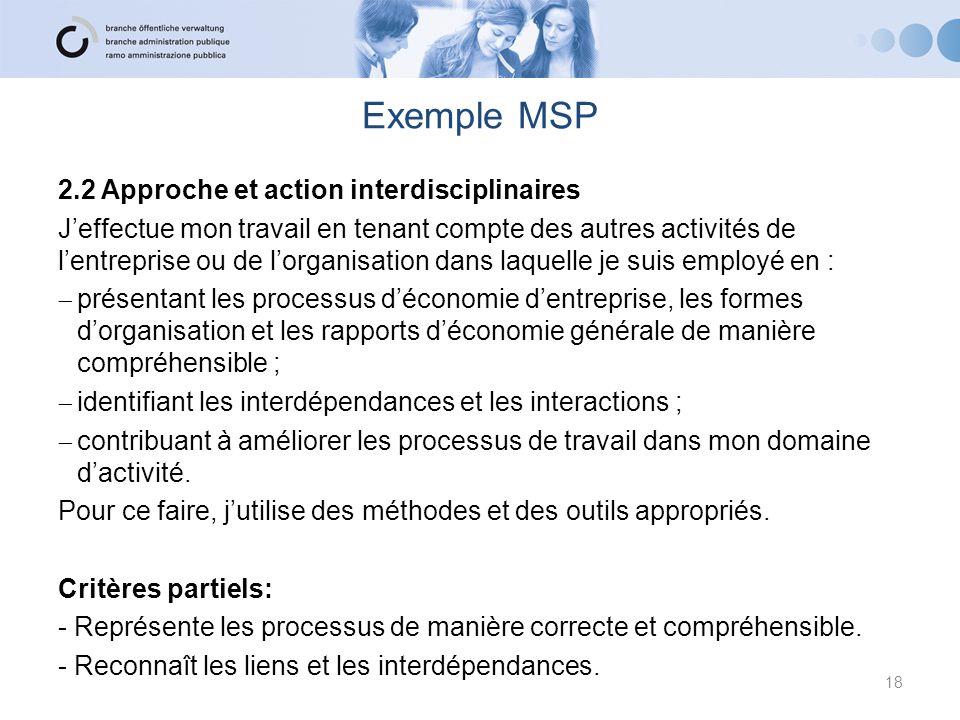 Exemple MSP 2.2 Approche et action interdisciplinaires J'effectue mon travail en tenant compte des autres activités de l'entreprise ou de l'organisati